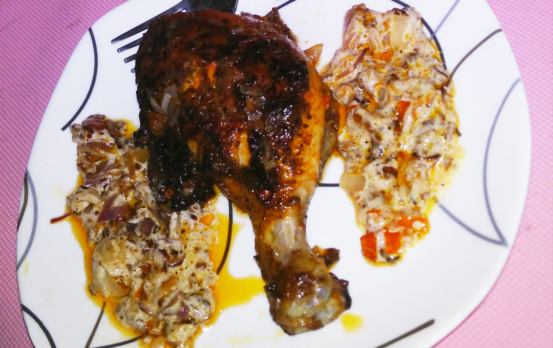 Pan Fried Drumstick With Sweet Cream Onion Sauce