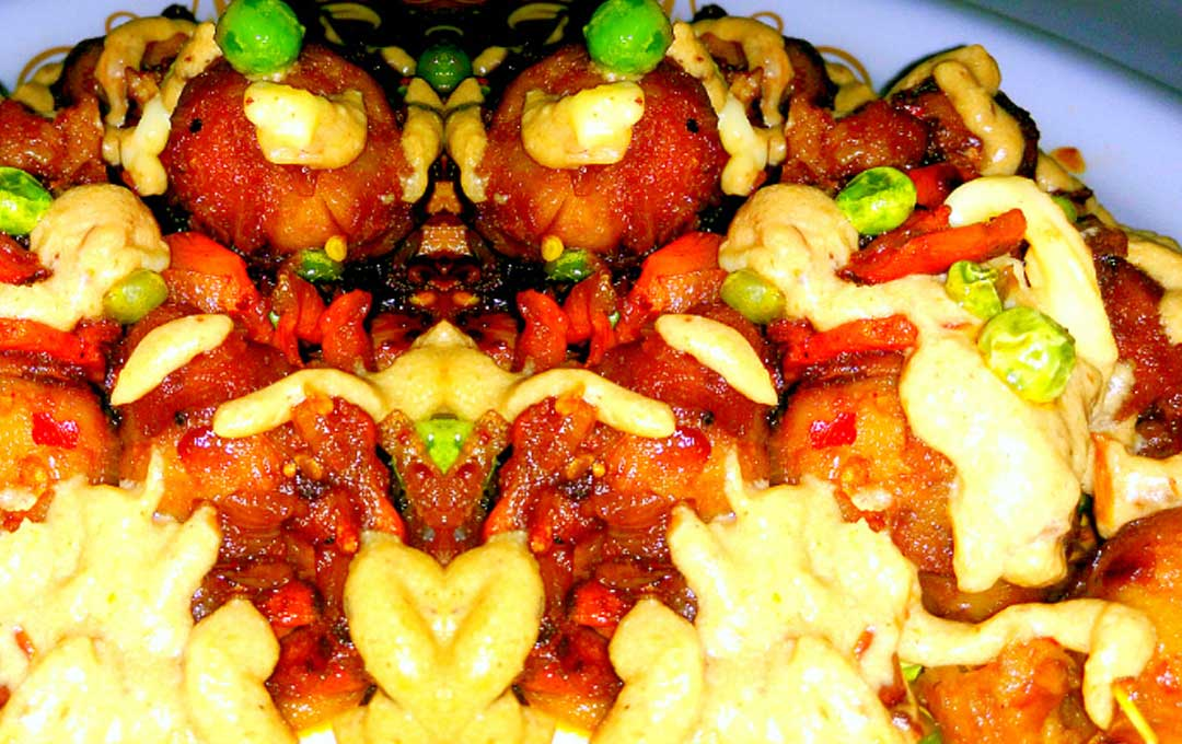 Breadballs with Chicken and Schezwan Cheese Cream Sauce