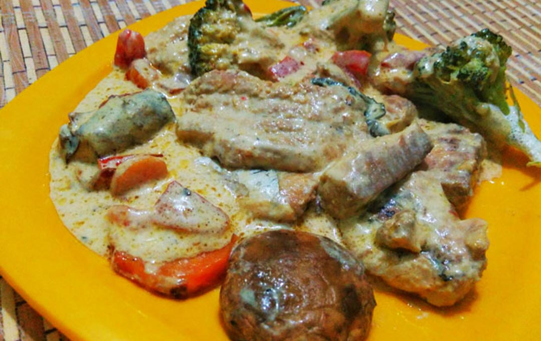 Cream of Fish with Steamed Herbed Veggies