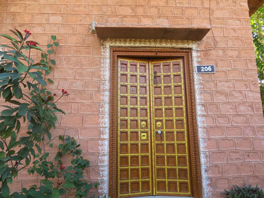 traditionally carved wooden door