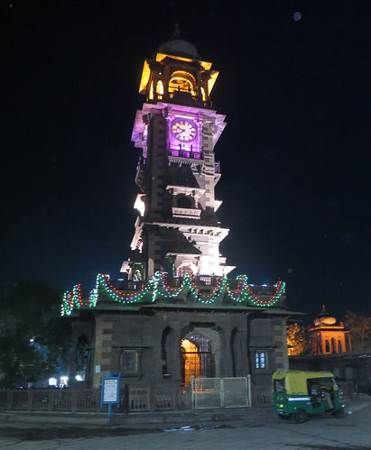 Clock Tower at night jodhpur