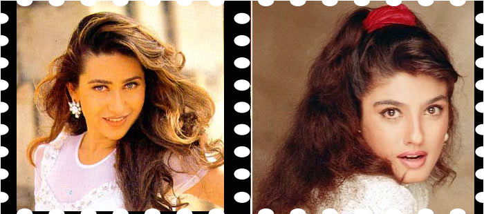 curled and blow dried hairstyles in 1990 bollywood