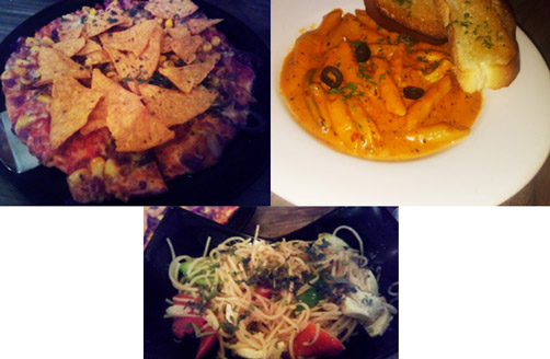 Hakka noodles, pasta and pizza