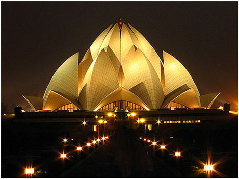 Lotus Temple night view