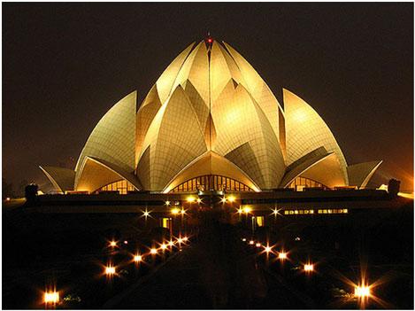 Lotus Temple night view